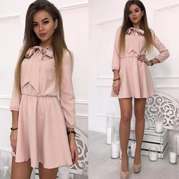 Women Bow Tie Sexy Vintage Dress 2018 Autumn A-line Women Casual Dresses Three Quarter Sleeve Turndown Fashion Solid Party Dress