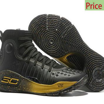 Cheap sneakers Mens Under Armour Curry 4 Mid Basketball Shoes Coal Black Gold sneaker
