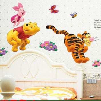 Cartoon Winnie the Pooh Bear Pig Tiger Wall stickers for kids rooms nursery Children wall decals decorative Wallpaper Poster
