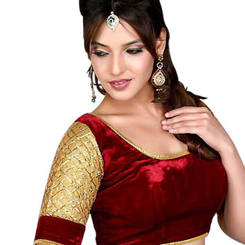 Maroon Velvet Ready-Made Saree Blouse X-79