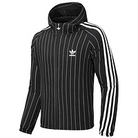 ADIDAS 2019 new thin windbreaker hooded striped casual skin clothing black