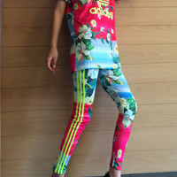 """Adidas"" Women Casual Fluorescence Multicolor Flower Print Short Sleeve Trousers Set Two-Piece Sportswear"