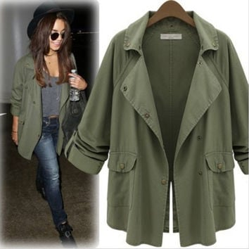 Army Green Roll Up Sleeve Trench Coat - Green
