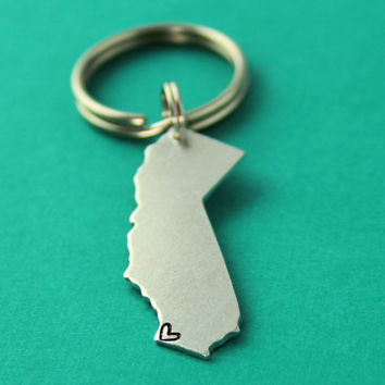 Personalized State Key Chain - Where your heart is - Custom State Keychain