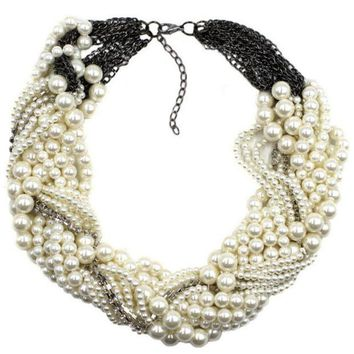 ONETOW New pearl necklace multi - layer personality shiny necklace personalized jewelry