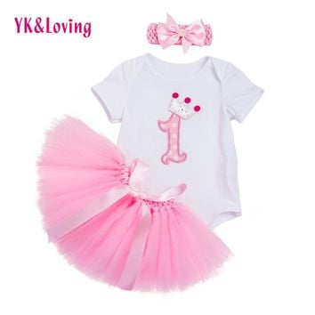 Newest Baby Girl Clothes Infant White Rompers Jumpsuit Pink Tutu Skirts 3 Pcs Girls Newborn Birthday Clothings Sets Summer  Z701