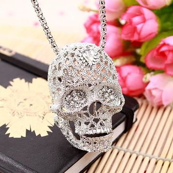 Fashion Skull Necklace high quality inlaid rhinestone Pendant jewelry