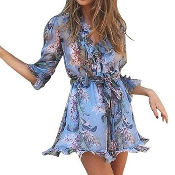 Floral Light Blue Ruffle Romper