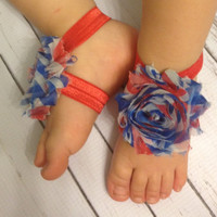 Baby Barefoot Sandals.. 4th of July Baby Accessories... Red White Blue Barefoot Sandals