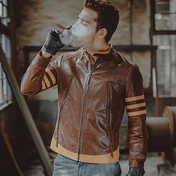 Men's motorcycle real leather jacket Genuine Leather jacket slim biker jackets winter coat