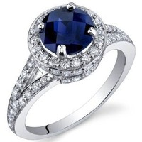 Created Sapphire Halo Ring Sterling Silver Rhodium Nickel Finish 1.75 Carats Size 6