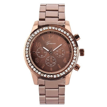 Noble Bling Crystal Ladies Women Unisex Stainless Steel Quartz Wrist Watch YHS = 1956442948