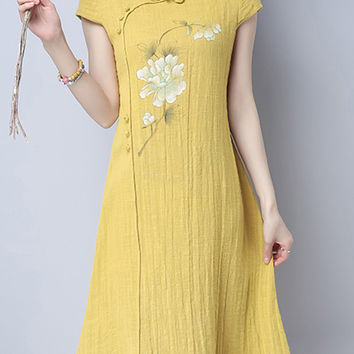 Vintage Frog Button Short Sleeve O Neck Women Dresses