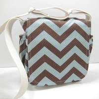 Chevron Messenger, Small Chevron Cross Body Bag, Brown and Blue, with Pouch, Ready to Ship