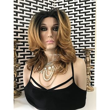 Big City Girl Glamour Human Hair Blend Multi Parting Lace Front Wig 12""
