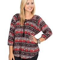 Derek Heart Women's Red & Navy Aztec Print 3/4 Sleeve Plus Size Peasant Blouse