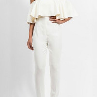 Flounced Open Back Chiffon Tube Jumpsuit Siamese Pants Trousers