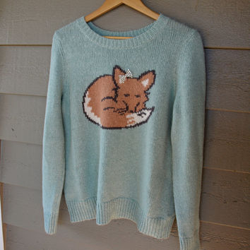 Vintage Inspired Fox Sweater With Rhinstone Bow. Large, XLarge. Womens. Aqua, mint, duck egg.