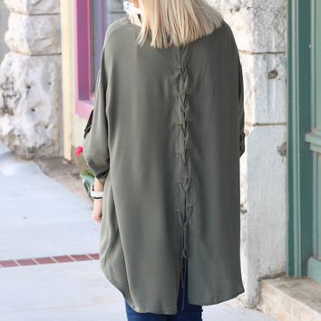 Lace Up + Tied Up Back Blouse {Olive}