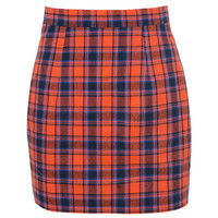 'Repertoire' Orange Navy Tartan Mini Skirt - Mistress Rocks