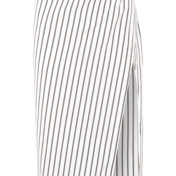 Off-White - Draped striped cotton-poplin skirt