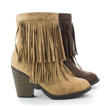 Strong Round Toe Layered Fringe Stacked Heel Ankle Bootie