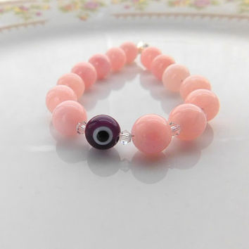 Pink Jade Bracelet - Pink Beaded Bracelet - Dark Purple Evil Eye - Glass Bead -OR- Choose your charm