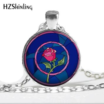 HZ--A449 New Beauty and the Beast Necklace Rose Pendant Jewelry Art Glass Cabochon Necklace HZ1