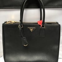 Prada Women's Saffiano Lux Executive Large Tote Bag BLACK 1BA786 F0002 4816