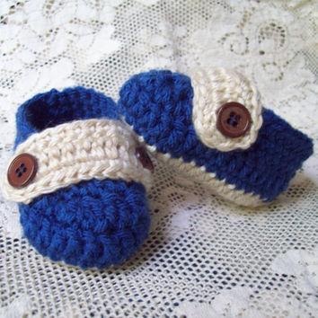 Crochet Baby Loafers, Blue and Tan,  Baby Boy Loafers, Newborn to 3 Months