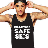 Practice Safe Sets - Funny Work Out Tshirt - Powerlifting - Funny Workout Shirt - Funny Weightlifting Tshirt - Men's Weight Training Tank -