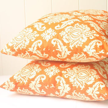 Retro Orange and Cream Cushion Cover by LittleBirdyCushions