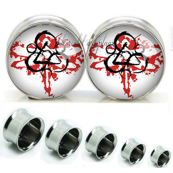 coheed cambria   Double Flare steel  plugs,Screw on flesh tunnel,Body Piercing Gifts,0g plugs,00 plug