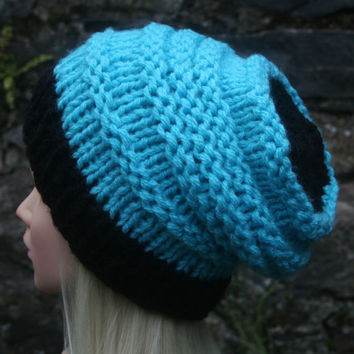 Hand Knit Hat- OceanShell Hat -slouchy -beanie hat- black and blue- winter hat