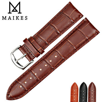 MAIKES New Design Watch Accessories Genuine Cow Leather Watch Strap 16 18 20 22 24mm Brown Watch Band Men Watchbands For Casio