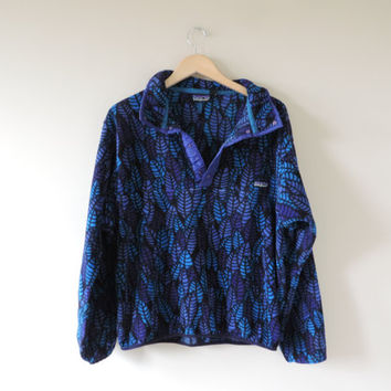Vintage Adult Patagonia Blue & Purple Leaf Pullover Fleece Jacket // Size SMALL