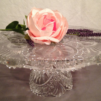 Stunning vintage crystal cake stand, intricate design, wedding decor, cake stand for anniversary, wedding cake, bird design circular pattern