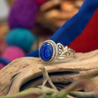 Lapis Lazuli Gemstone Sterling Silver Statement Ring/ Handmade Luxe Blue Natural Stone Silver Fashion Jewelry