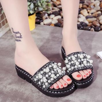 Womens Wedge Med Heels Shoes Platform Slippers Mules Fashion Pearl Sandals C497
