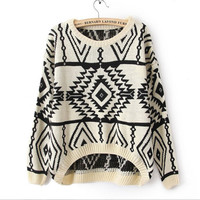 Fanewant — VINTAGE GEOMETRIC PATTERN KNITTED SWEATER