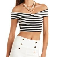 Bow-Front Off-the-Shoulder Crop Top by Charlotte Russe - Black Combo