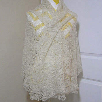 1914 Hand Spun & Hand Woven in the Shetland Islands Lace Shawl or Table Covering in Ivory, ~~by Victorian Wardrobe