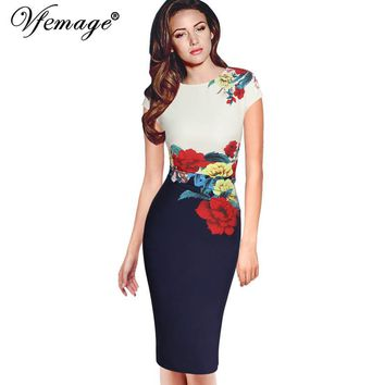 Vfemage Womens Elegant Vintage Flower Floral Print Frill Ruched Charming Casual Party Bodycon Sheath Fitted Vestidos Dress 2566