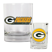 NFL Green Bay Packers Rocks Glass and Shot Glass Set