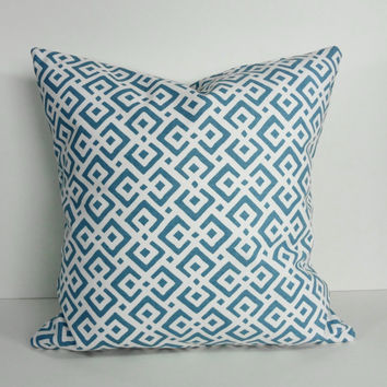 Decorative Blue, Cyan, White Pillow Cover, Geometric Throw Cushion Cover, 18 x 18