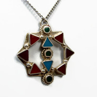 Inlaid Turquoise Pendant, Sterling Silver, TR Mexico, Vintage Pendant, Southwest Style, Vintage Jewelry, 925 Silver, Red Coral, Pendant