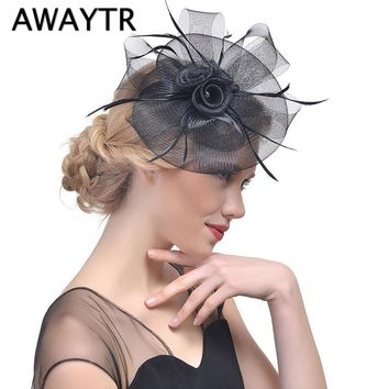 AWAYTR Fascinator Hairpin Hat Clips Party Headwear for Women Feather Hair Clips Floral Tiaras Wedding Bridal Hair Accessories