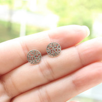 Tree of Life stud, Tiny Sterling Silver Stud, Post Earrings, Tree of Life, Tree post, Tree stud, Everyday Jewelry