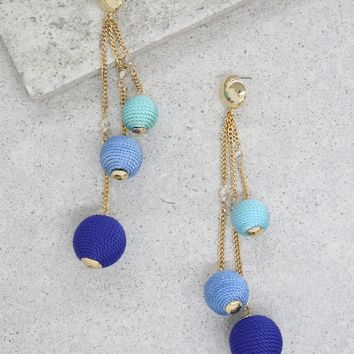 Let it Linger Earrings in Blue and Gold