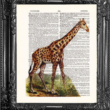 Giraffe Art-Dictionary Print Vintage Book Print Page Art-Upcycled Antique Book Art-Vintage Mixed Media Collage Book Art